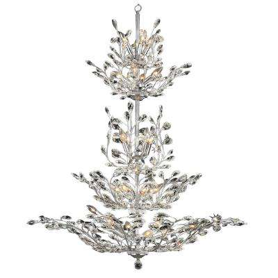 Aspen 26-Light Polished Chrome with Clear Floral Crystals Large 4-Tier Chandelier