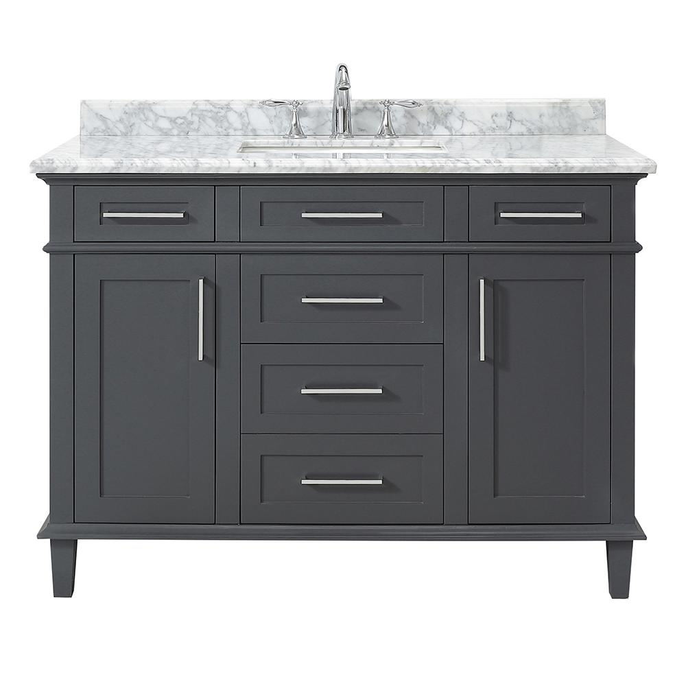 Home Decorators Collection Sonoma 48 in. W x 22 in. D Vanity in Dark Charcoal with Carrara Marble Top with White Sinks