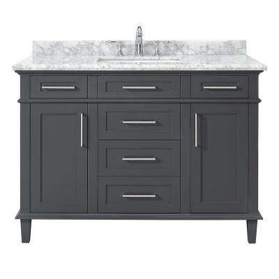 Sonoma 48 in. W x 22 in. D Vanity in Dark Charcoal with Carrara Marble Top with White Sinks