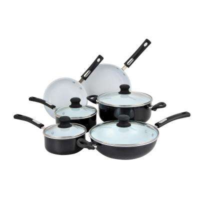 10-Piece Black and White Cookware Set with Lids