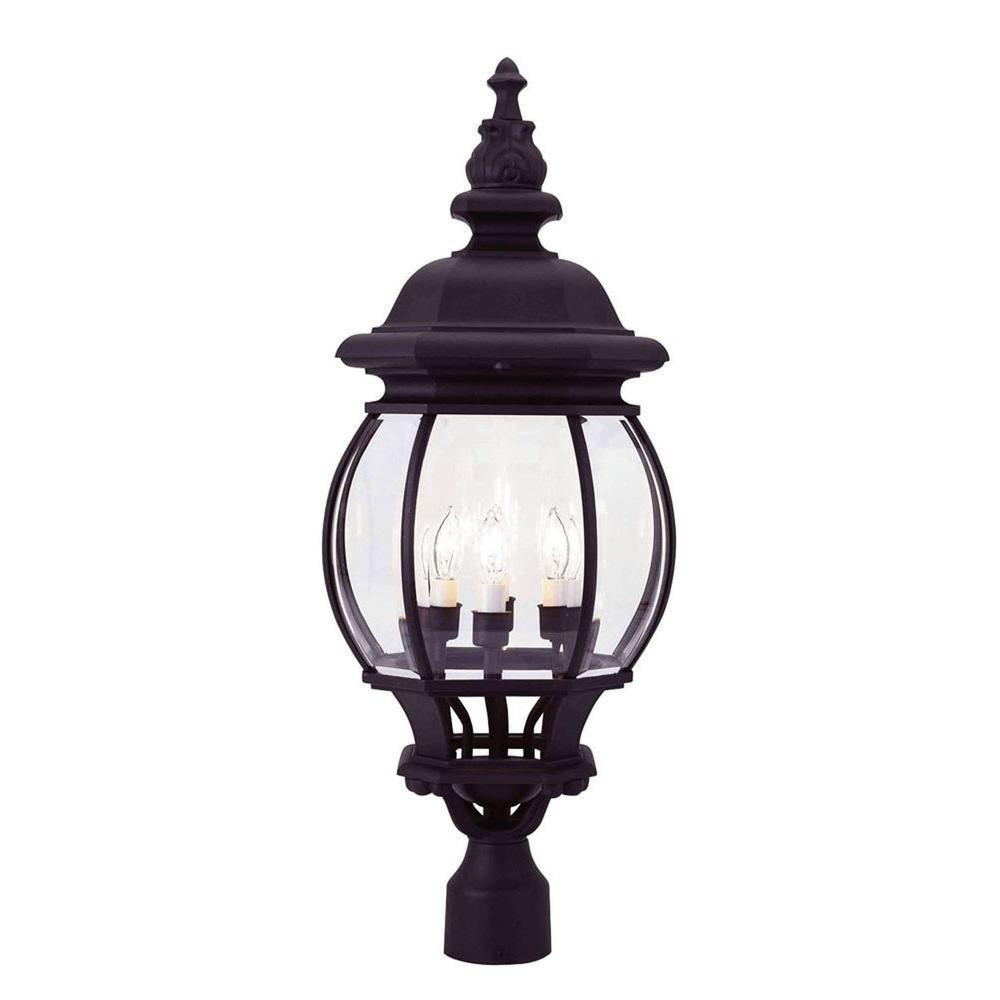 Livex Lighting 4-Light Black Incandescent Outdoor Post Lantern