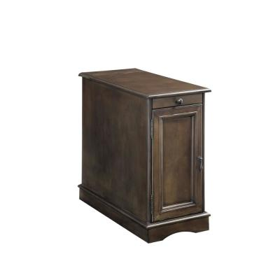 Lilith I Side Table with Built-in USB Outlet, Pull-out Cup Holder and Storage Cabinet in Gray Finish