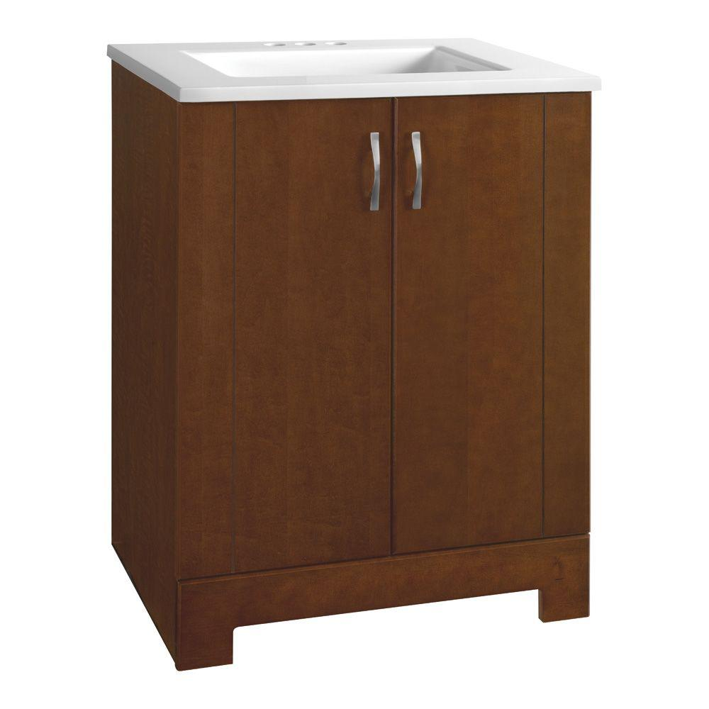 Glacier Bay Madrid 24.5 in. W Bath Vanity in Cognac with Cultured Marble Vanity Top in White with White Sink