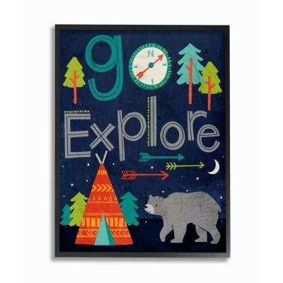 "16 in. x 20 in. ""Go Explore Night Time Tee Pee with Bear"" by Elizabeth Silver Printed Framed Wall Art"