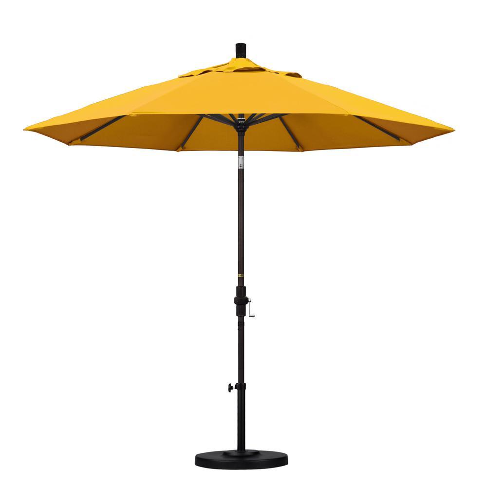 9 ft. Aluminum Collar Tilt Patio Umbrella in Yellow Pacifica