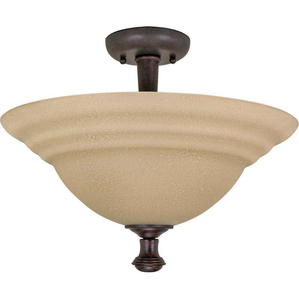 2 Light Old Bronze Semi Flush Mount With Amber Water Gl