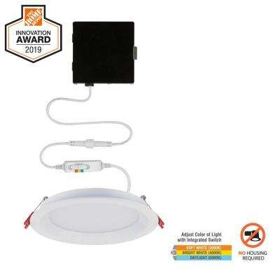 Slim Baffle 6 in. New Construction and Remodel Color Selectable Canless LED Recessed Kit