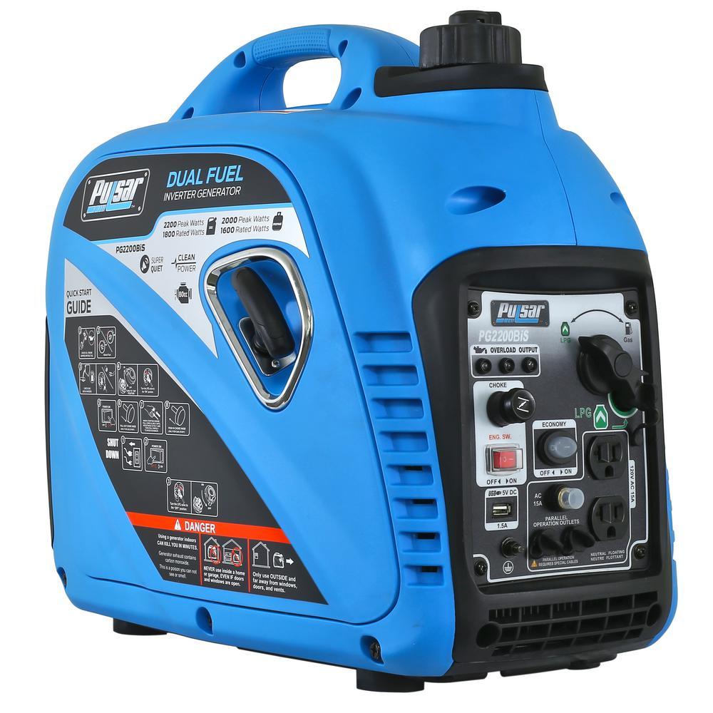 2,200-Watt/2,000-Watt Dual Fuel Gasoline/Propane Powered Recoil Start Inverter Generator with 80cc CARB Compliant Engine