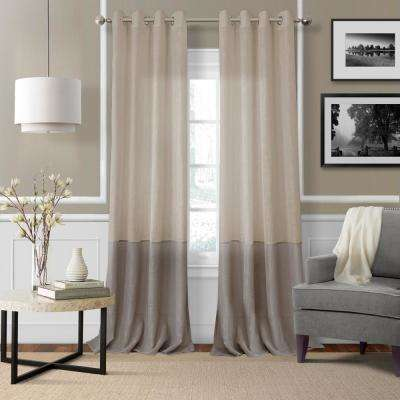 Elrene Melody Sheer 52 in. W x 84 in. L Polyester Single Window Panel in Linen