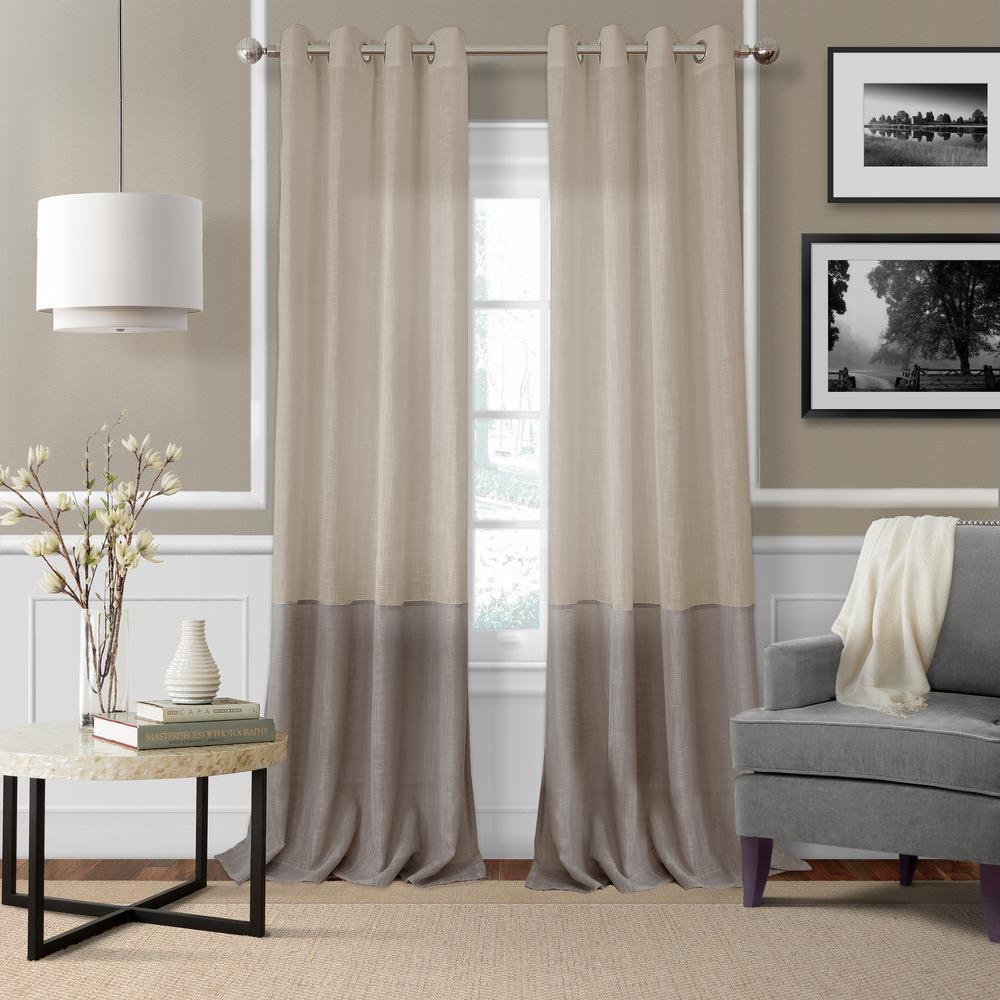 Melody Color Block Semi-Sheer Window Curtain