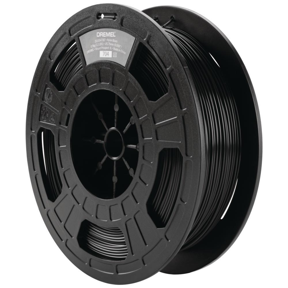1.75 mm Dia 0.5 kg Spool Weight Nylon 3D Printer Filament in Black