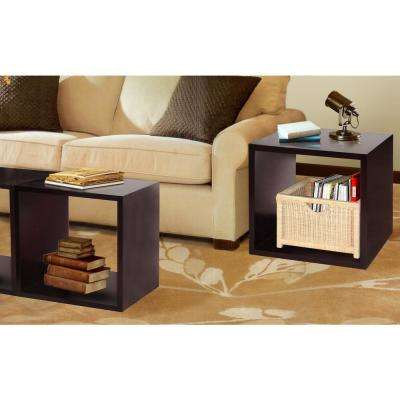 Dark Walnut Decorative Wood Storage Floor Cube (Set of 2)