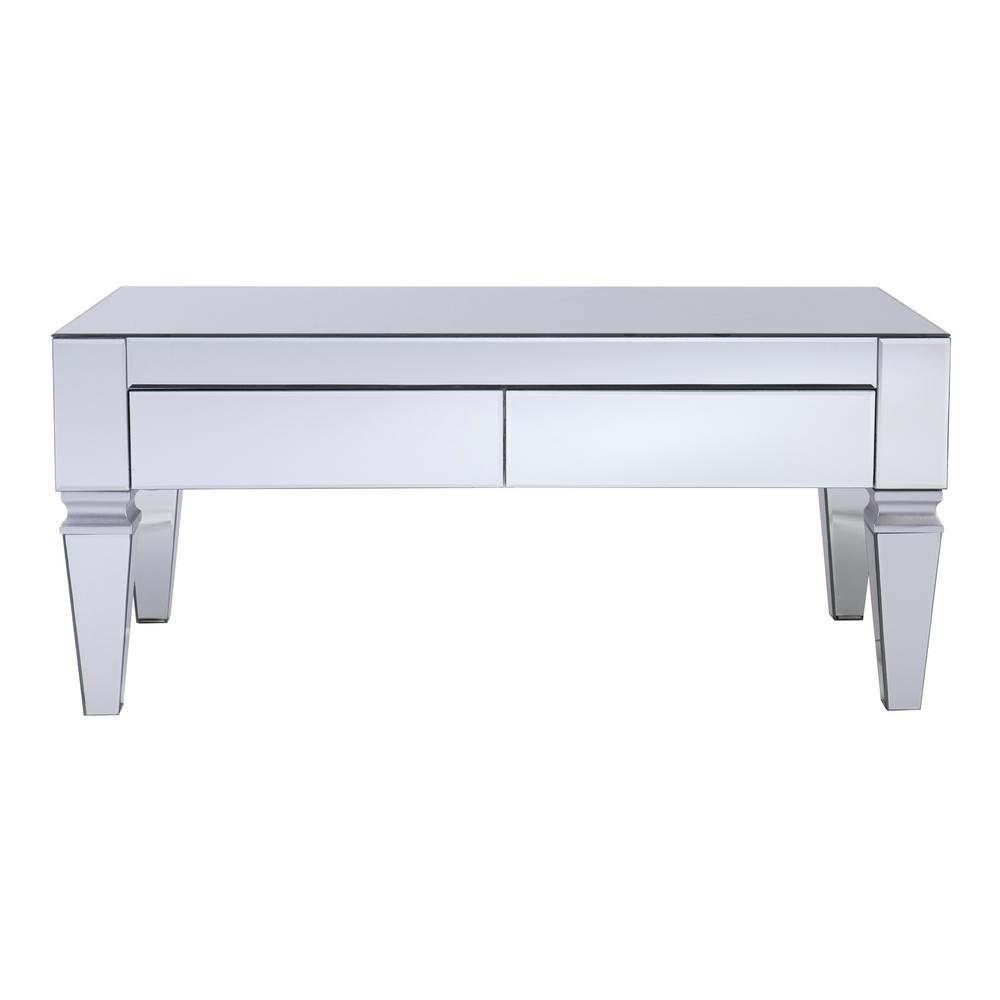 SouthernEnterprises Southern Enterprises Hannity Mirrored Rectangular Cocktail Table, Metallic silver