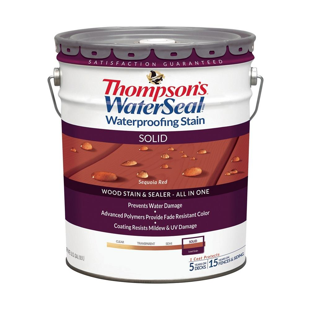 Thompson 39 S Waterseal 5 Gal Solid Sequoia Red Waterproofing Stain Exterior Wood