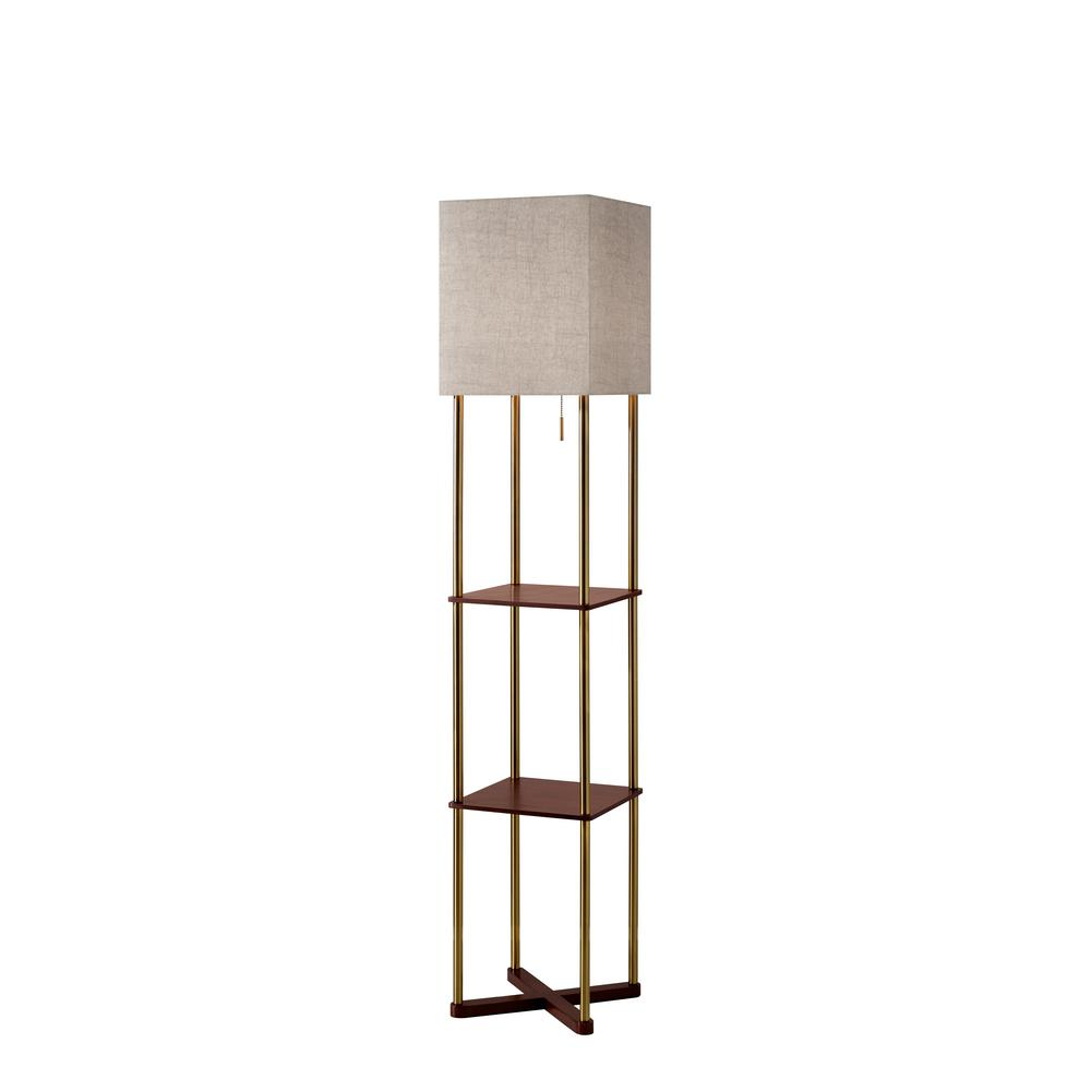 58 In Antique Brass Swing Arm Floor Lamp With Glass