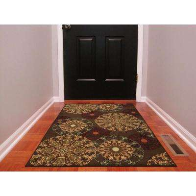 Ottohome collection contemporary damask design brown 3 ft x 5 ft area rug