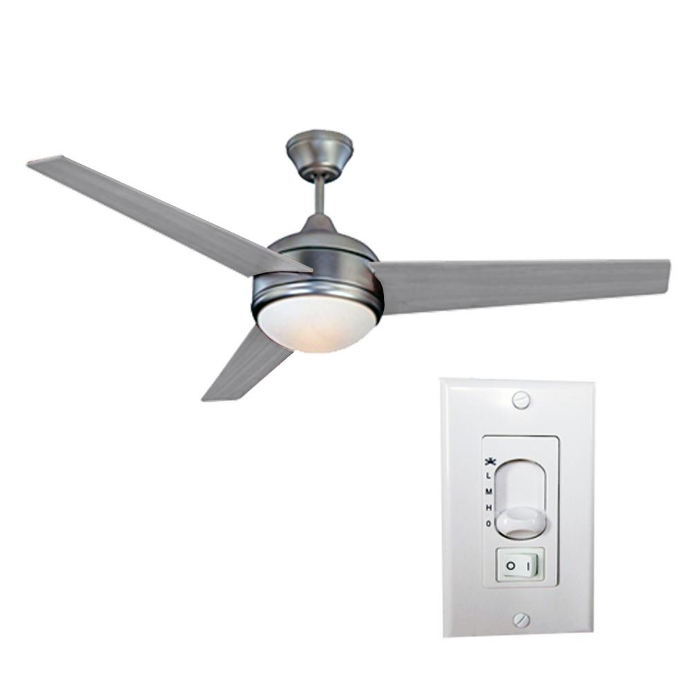 HomeSelects Loft 52 in. LED Brushed Nickel Ceiling Fan with 3-Speed Wall Switch