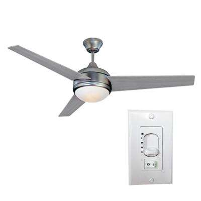 Loft 52 in. LED Brushed Nickel Ceiling Fan with 3-Speed Wall Switch