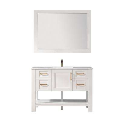 Grayson 48 in. Single Vanity in White with Artificial Fine white stone countertop With Mirror