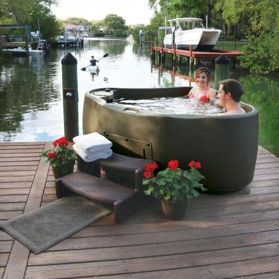 Premium 300 2-Person Plug and Play Hot Tub with 20 Stainless Jets, Heater, Ozone and LED Waterfall in Brownstone