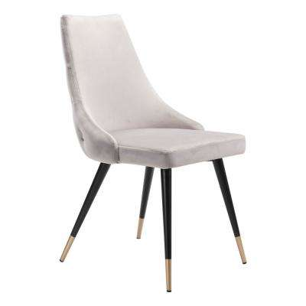 Piccolo Gray Velvet Dining Chair (Set of 2)