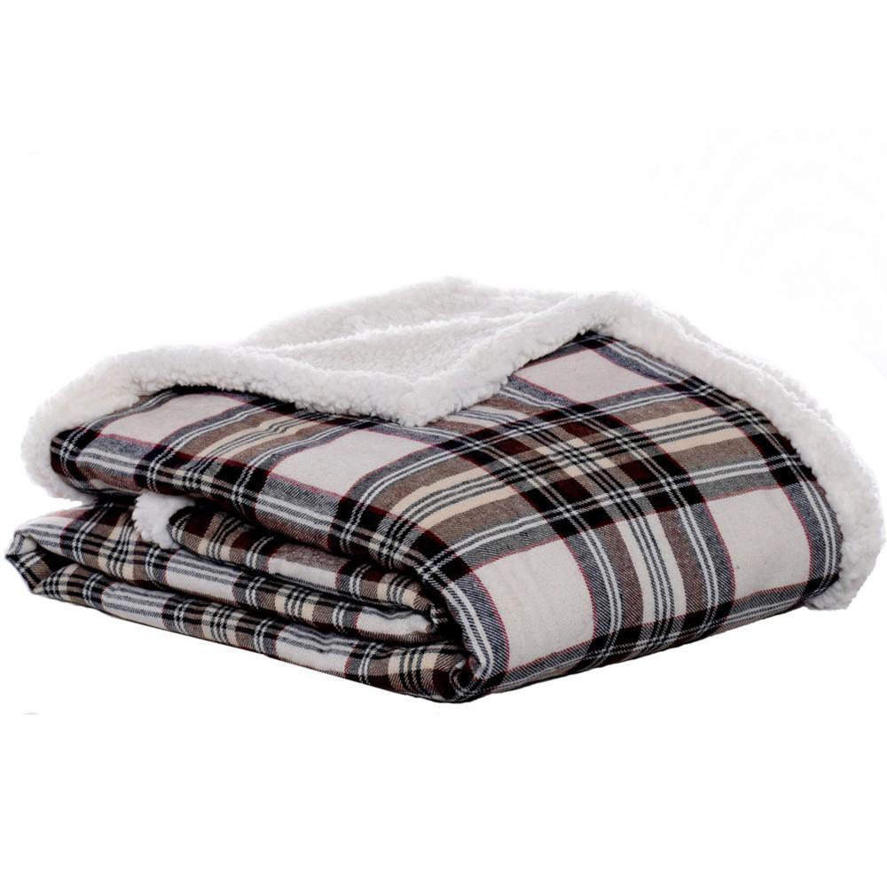 "Eddie Bauer Edgewood Plaid Flannel Sherpa Throw Blanket Khaki 50/"" x 60/"""
