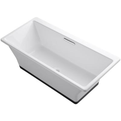 Reve 5.5 ft. Porcelain-Enameled Cast Iron Flat Bottom Non-Whirlpool Bathtub in White