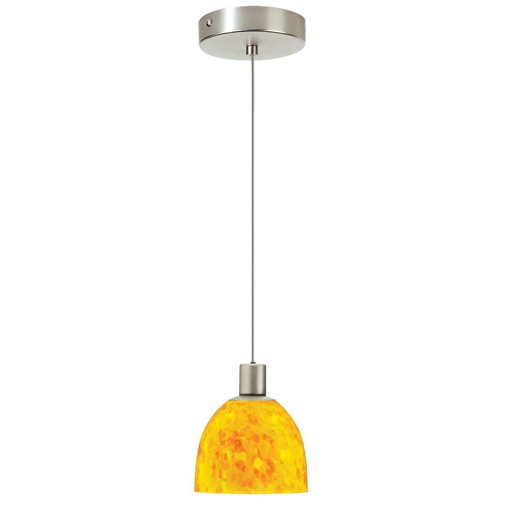 Radionic Hi Tech Industrial Chic 1-Light Satin Chrome Pendant with Yellow Petal Glass