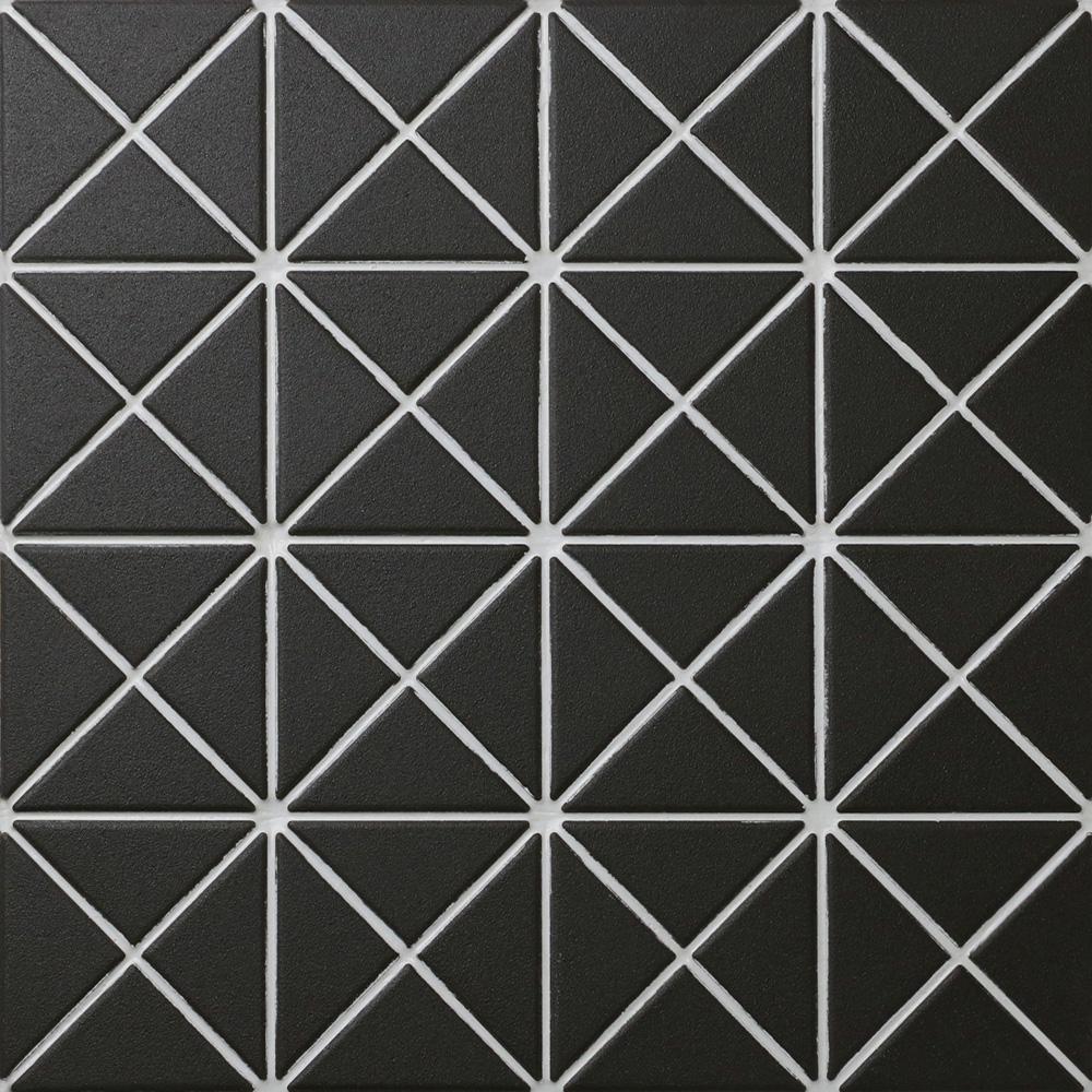 Trego Crossover Black 10-1/8 in. x 10-1/8 in. x 6 mm Unglazed Porcelain Mosaic Tile (7.3 sq. ft. / case)