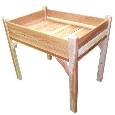 36 in. W x 24 in. D x 32 in. H Rectangle Wood Raised Garden Bed