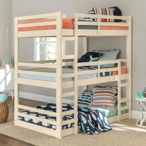 Transitional Solid Wood Triple Low Bunk Bed - White