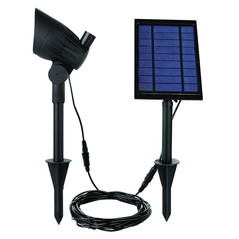 Solar Black LED 75 Lumen Metal Spotlight