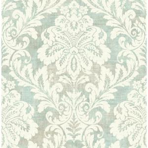 Shimmer Metallic Blue Ice, Grey, and Off-White Damask Wallpaper