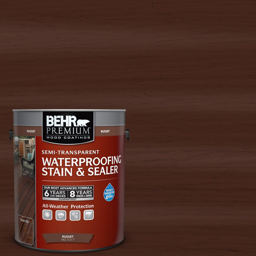 BEHR Premium 1 gal. #ST-117 Russet Semi-Transparent Waterproofing Stain and Sealer