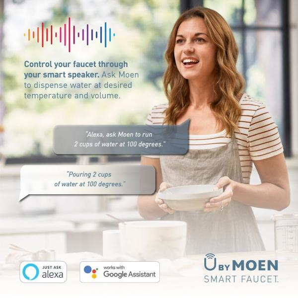 Moen U By Moen Weymouth Single Handle Pull Down Sprayer Smart Kitchen Faucet With Voice Control In Spot Resist Stainless S73004evsrs The Home Depot