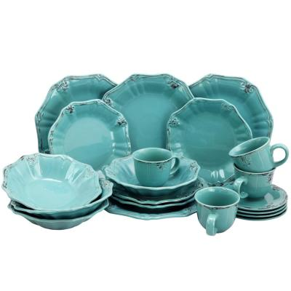 Fleur De Lys 20-Piece Turquoise Dinnerware Set