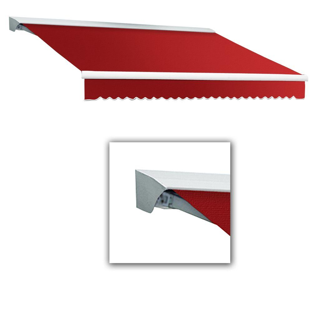 AWNTECH 10 ft. LX-Destin Hood Right Motor with Remote Retractable Acrylic Awning (96 in. Projection) in Red