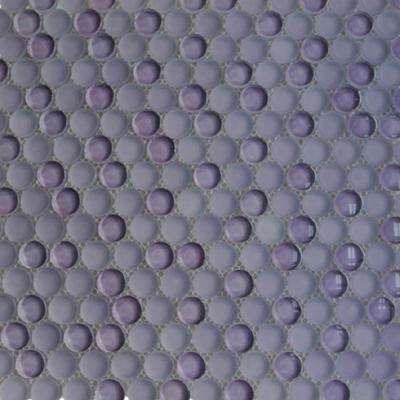Contempo Purple Circle 11-1/2 in. x 12 in. 8 mms Polished and Frosted  Glass Mosaic Tile(0.96 sq. ft. )