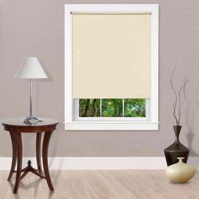 Cut-to-Width Tear Down Ivory Cordless Vinyl Light Filtering Roller Shade - 55 in. W x 72 in. L