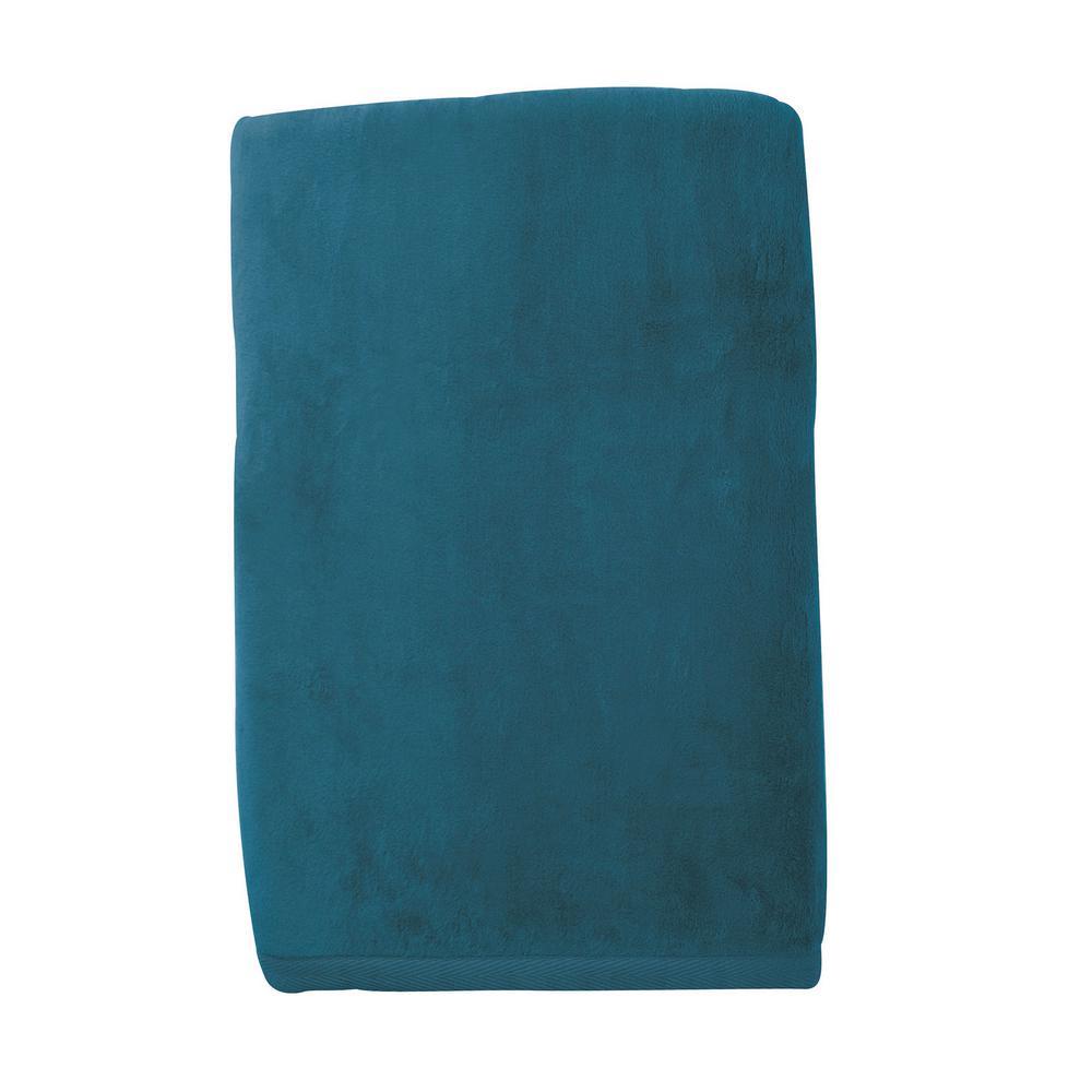 The Company Store Cotton Fleece Caribbean Blue Queen Woven Blanket