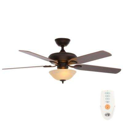 Flowe 52 in. Indoor Mediterranean Bronze Ceiling Fan with Light Kit and Remote Control