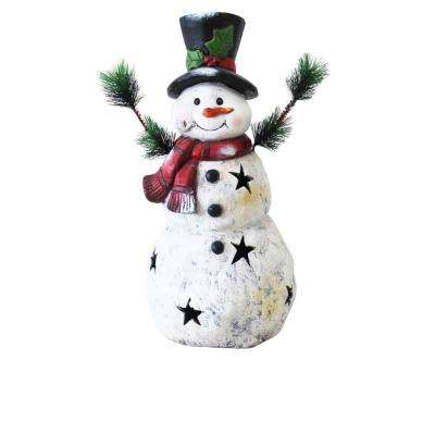 22 in. Christmas Snowman Statuary with Black Stars