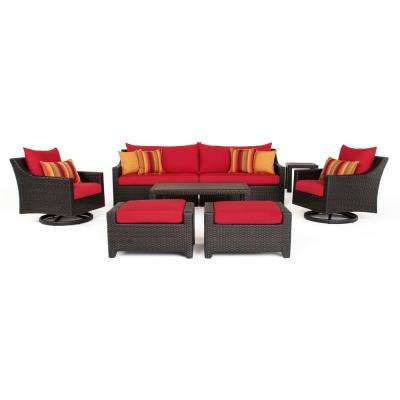 Deco 8-Piece All-Weather Wicker Patio Deluxe Sofa and Motion Club Chair Conversation Set with Sunset Red Cushions