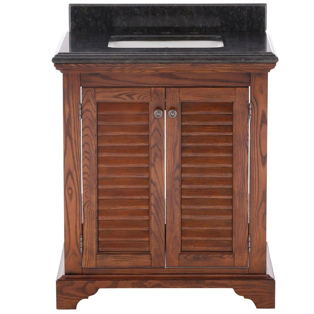 Home Decorators Collection Cedar Cove 30 in. Vanity in Oak with Granite Vanity Top in Blue Butterfly