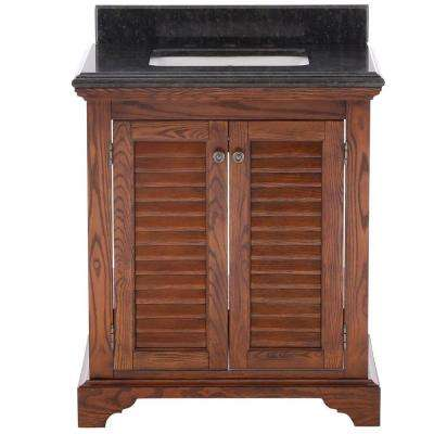 Cedar Cove 30 in. Vanity in Oak with Granite Vanity Top in Blue Butterfly