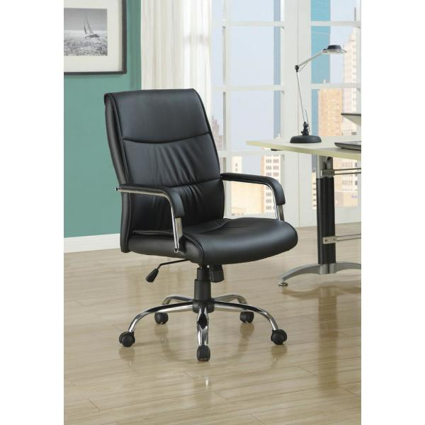 Unbranded Black Leather Look Office Chair Hd4290 The Home Depot