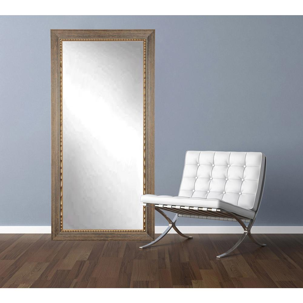 32 in. x 66 in. Bronze Wood Trail Floor Framed Mirror