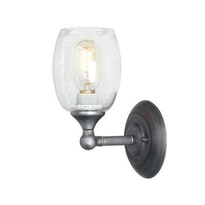 1-Light Aged Silver Bathroom Vanity Light with Seeded Glass Shade