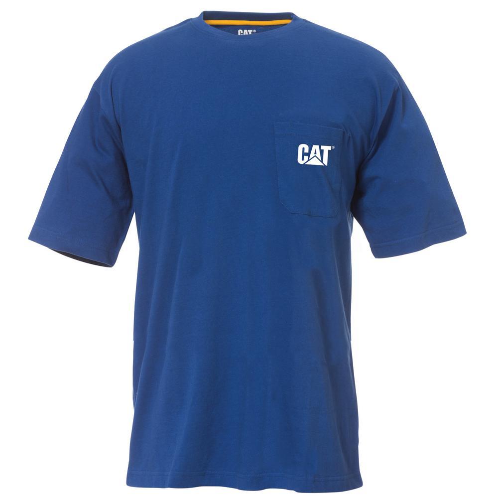 Logo Men's X-Large Bright Blue Cotton Short Sleeved Pocket T-Shirt