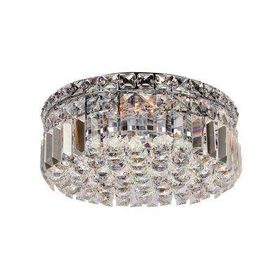 Cascade Collection 4-Light Chrome and Crystal Flushmount